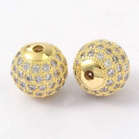 Crystal Gold Tone Tone Cubic Zirconia Beads, 10mm Round
