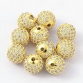 Crystal Gold Tone Cubic Zirconia Bead, 10mm Round