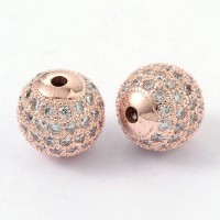 Crystal Rose Gold Tone Cubic Zirconia Beads, 10mm Round