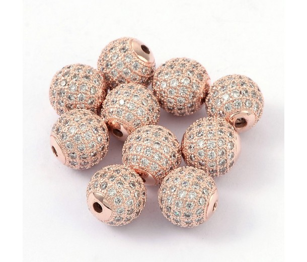 Crystal Rose Gold Tone Cubic Zirconia Bead, 10mm Round