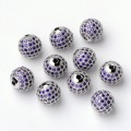 Light Purple Platinum Tone Cubic Zirconia Bead, 10mm Round, 1 Piece