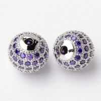 Light Purple Platinum Tone Cubic Zirconia Beads, 10mm Round