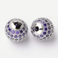 Light Purple Platinum Tone Cubic Zirconia Beads, 10mm Round