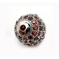 Topaz Platinum Tone Cubic Zirconia Beads, 10mm Round