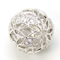 Crystal Platinum Tone Cubic Zirconia Beads, 12mm Filigree Round