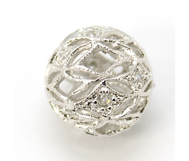 Crystal Platinum Tone Cubic Zirconia Bead, 12mm Filigree Round