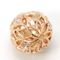 Crystal Rose Gold Tone Cubic Zirconia Bead, 12mm Filigree Round