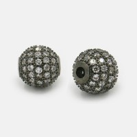 Crystal Black Tone Cubic Zirconia Beads, 8mm Round