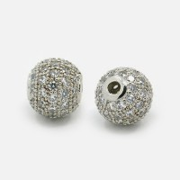 Crystal Platinum Tone Cubic Zirconia Beads, 8mm Round