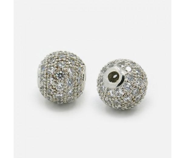 Crystal Platinum Tone Cubic Zirconia Beads, 8mm Round
