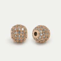 Crystal Rose Gold Tone Cubic Zirconia Bead, 8mm Round