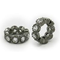 Crystal Gunmetal Cubic Zirconia Rondelle Bead, Wavy Edge, 10x3mm