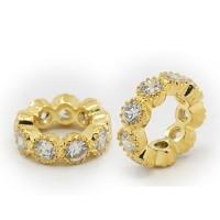 Crystal Gold Tone Cubic Zirconia Rondelle Beads, Wavy Edge, 10x3mm