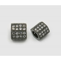 Micro Pave Cubic Zirconia Bead, Black Tone, 8x10mm Hex Tube