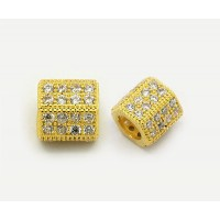 Micro Pave Cubic Zirconia Bead, Gold Tone, 8x10mm Hex Tube