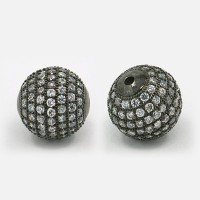 Crystal Gunmetal Tone Cubic Zirconia Beads, 12mm Round