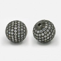 Crystal Gunmetal Tone Cubic Zirconia Beads, 12mm Round
