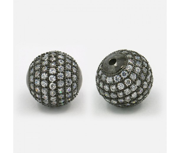 Crystal Gunmetal Tone Cubic Zirconia Beads, 14mm Round