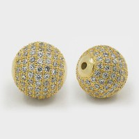 Crystal Gold Tone Cubic Zirconia Bead, 12mm Round
