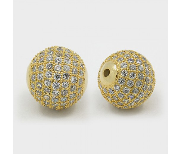 Crystal Gold Tone Cubic Zirconia Beads, 12mm Round