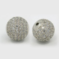 Crystal Platinum Tone Cubic Zirconia Beads, 10mm Round