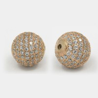 Crystal Rose Gold Tone Cubic Zirconia Bead, 12mm Round