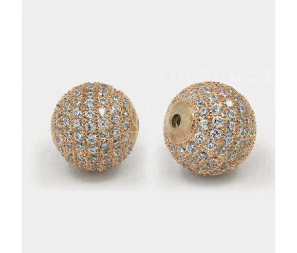Crystal Rose Gold Tone Cubic Zirconia Beads, 12mm Round