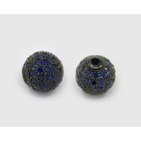 Sapphire Blue Gunmetal Tone Cubic Zirconia Beads, 10mm Round