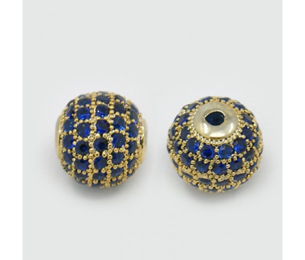 Sapphire Blue Gold Tone Cubic Zirconia Beads, 10mm Round