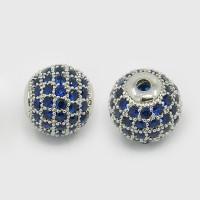 Sapphire Blue Platinum Tone Cubic Zirconia Bead, 10mm Round