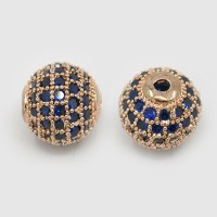 Sapphire Blue Rose Gold Tone Cubic Zirconia Beads, 10mm Round