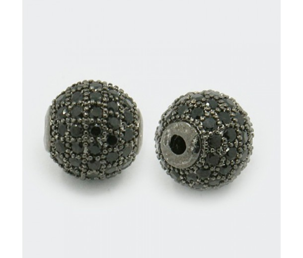 Jet Gunmetal Cubic Zirconia Beads, 10mm Round