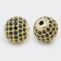 Jet Gold Tone Tone Cubic Zirconia Beads, 10mm Round