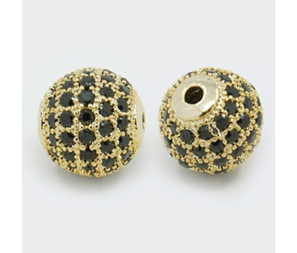 Jet Gold Tone Cubic Zirconia Bead, 10mm Round