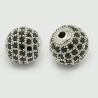 Jet Platinum Tone Tone Cubic Zirconia Bead, 10mm Round
