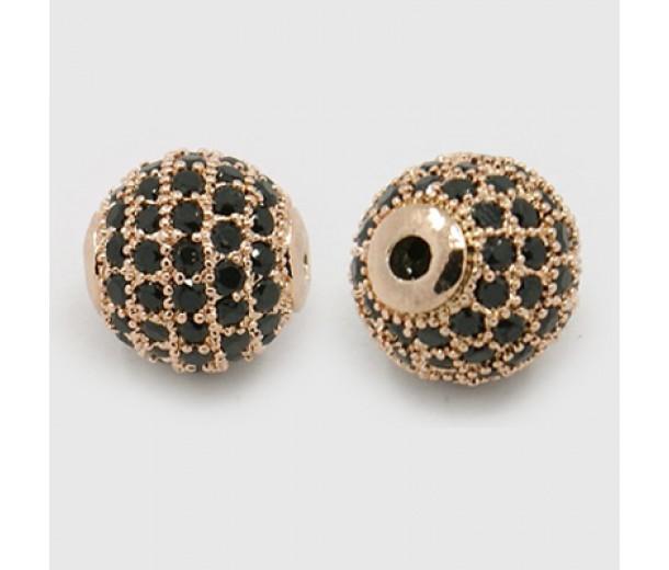 Jet Rose Gold Tone Tone Cubic Zirconia Bead, 10mm Round