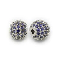 Purple Platinum Tone Cubic Zirconia Bead, 8mm Round