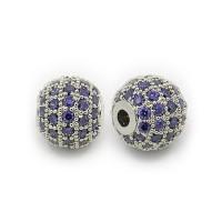 Purple Platinum Tone Cubic Zirconia Beads, 8mm Round
