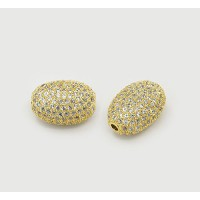 Micro Pave Cubic Zirconia Beads, Gold Tone, 10mm Oval