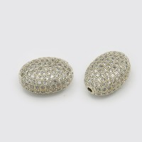 Micro Pave Cubic Zirconia Beads, Platinum Tone, 10mm Oval
