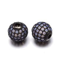 Opalite Gunmetal Tone Cubic Zirconia Beads, 12mm Round