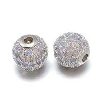 Opalite Platinum Tone Cubic Zirconia Beads, 12mm Round