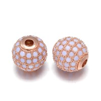 Opaque Blue Opal Rose Gold Cubic Zirconia Beads, 8mm Round