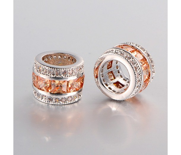 Coral Cubic Zirconia Beads, Platinum Tone, 10x8mm Tube