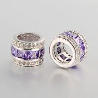 Violet Cubic Zirconia Beads, Platinum Tone, 10x8mm Tube