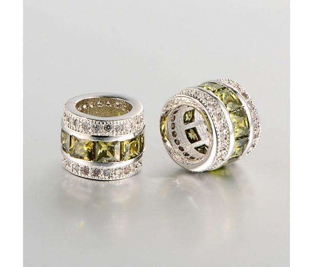 Olive Cubic Zirconia Beads, Platinum Tone, 10x8mm Tube