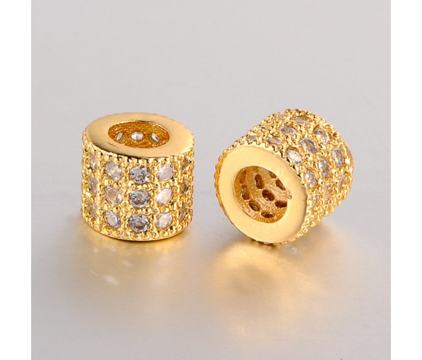 Micro Pave Cubic Zirconia Bead, Gold Tone, 6mm Tube