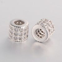Micro Pave Cubic Zirconia Beads, Platinum Tone, 6mm Tube
