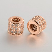 Micro Pave Cubic Zirconia Beads, Rose Gold Tone, 6mm Tube