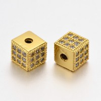 Micro Pave Cubic Zirconia Beads, Gold Tone, 6mm Cube